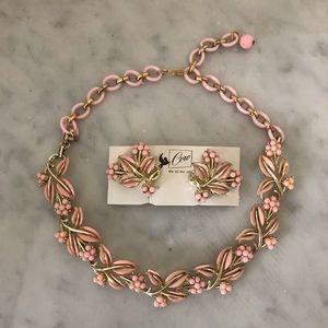 Coro Enamel Necklace and Earrings
